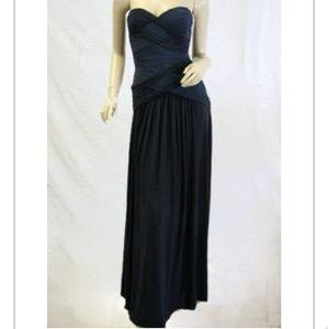 BCBG Max Azria navy blue ruched dress.